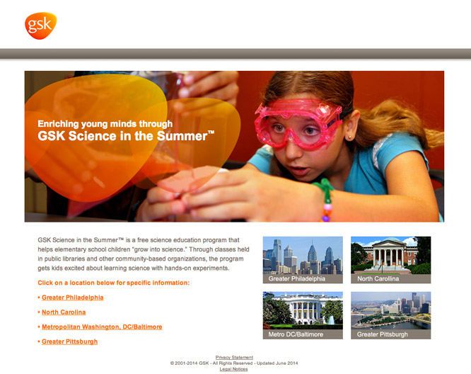 GSK Science in the Summer home page